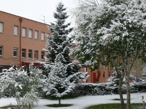 Entrada nevada del IES La Serna